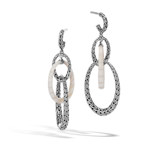 Classic Chain Drop Earring in Silver with Gemstone, White Agate, large