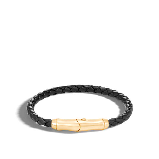 Bamboo Bracelet in 18K with 5MM Black Leather, , large