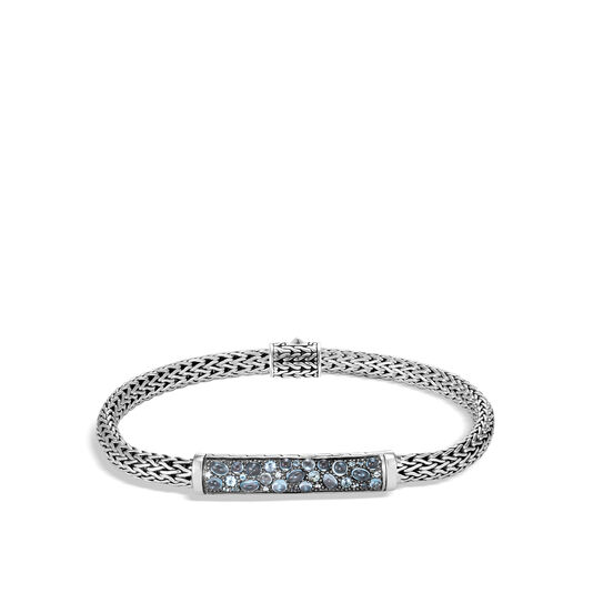 Classic Chain 5MM Station Bracelet in Silver with Gemstone, London Blue Topaz, large