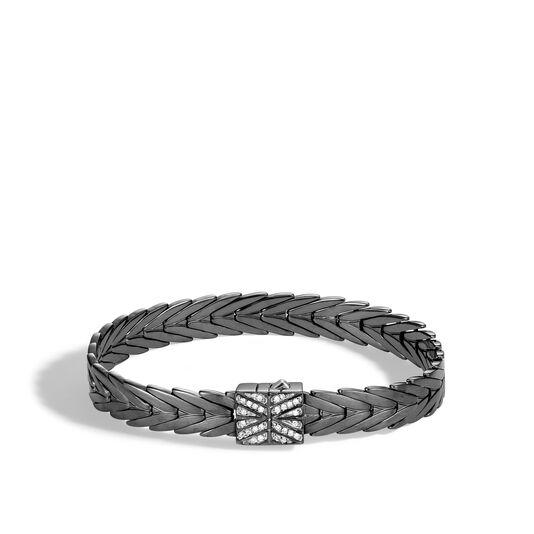 Modern Chain 8MM Bracelet in Blackened Silver with Diamonds, White Diamond, large