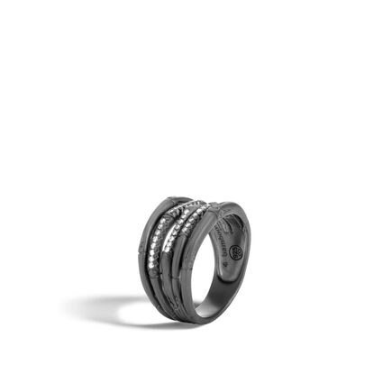 Bamboo Ring in Blackened Silver with Diamonds