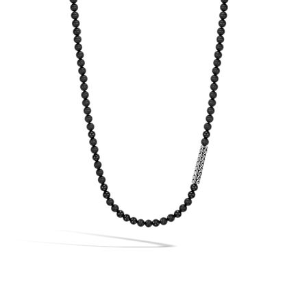 Classic Chain Bead Necklace in Silver with 6MM Gemstone