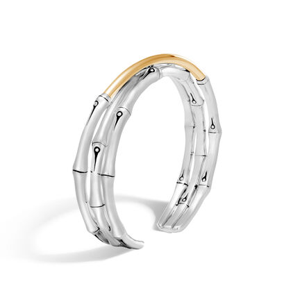 Bamboo 12MM Cuff in Silver and 18K Gold