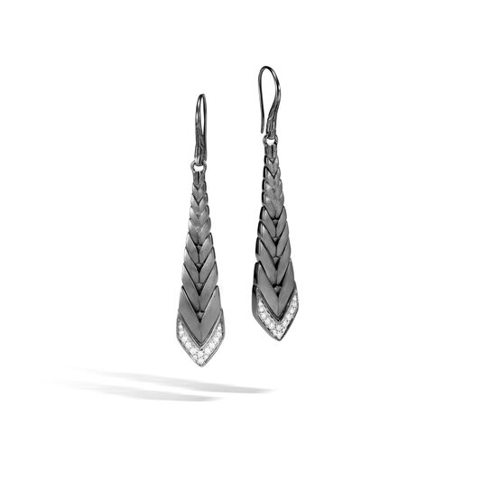 Modern Chain Drop Earring in Blackened Silver with Diamonds, White Diamond, large
