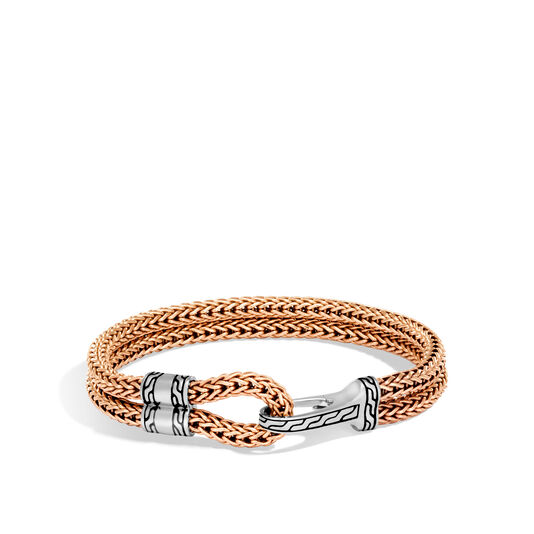 Classic Chain Hook Clasp Bracelet In Silver and Bronze, , large