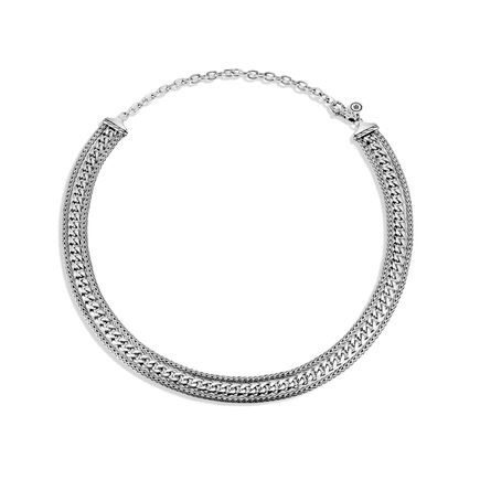 AAxJH Classic Chain Triple Row Necklace in Silver