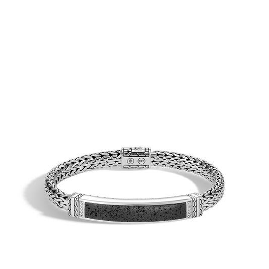 Classic Chain 7.5MM ID Bracelet, Silver, Gemstone, Diamonds, Black Volcanic, large