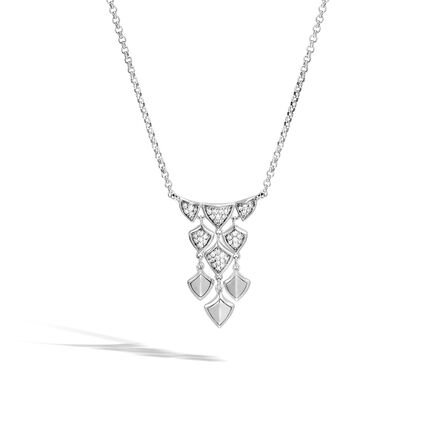 Legends Naga Necklace in Silver with Diamonds