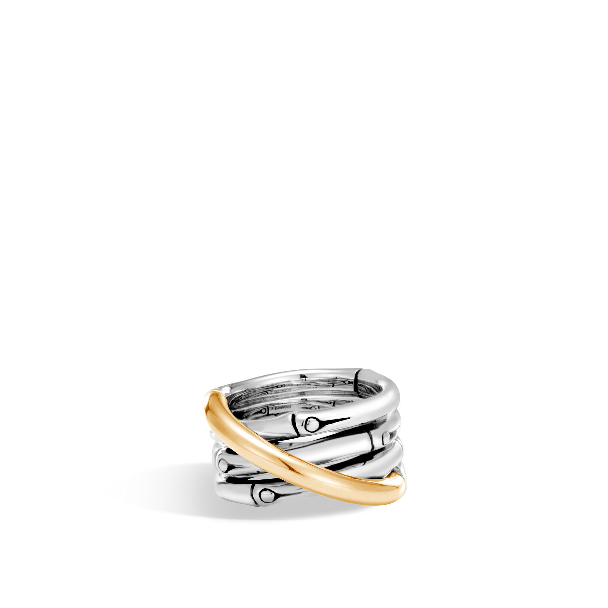 Bamboo Band Ring in Silver and 18K Gold, , large
