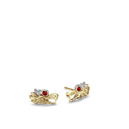 Legends Naga Stud Earring in 18K Gold with Diamonds
