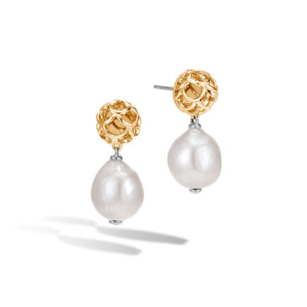 Legends Naga Drop Earring, Silver, 18K Gold with 11MM Pearl