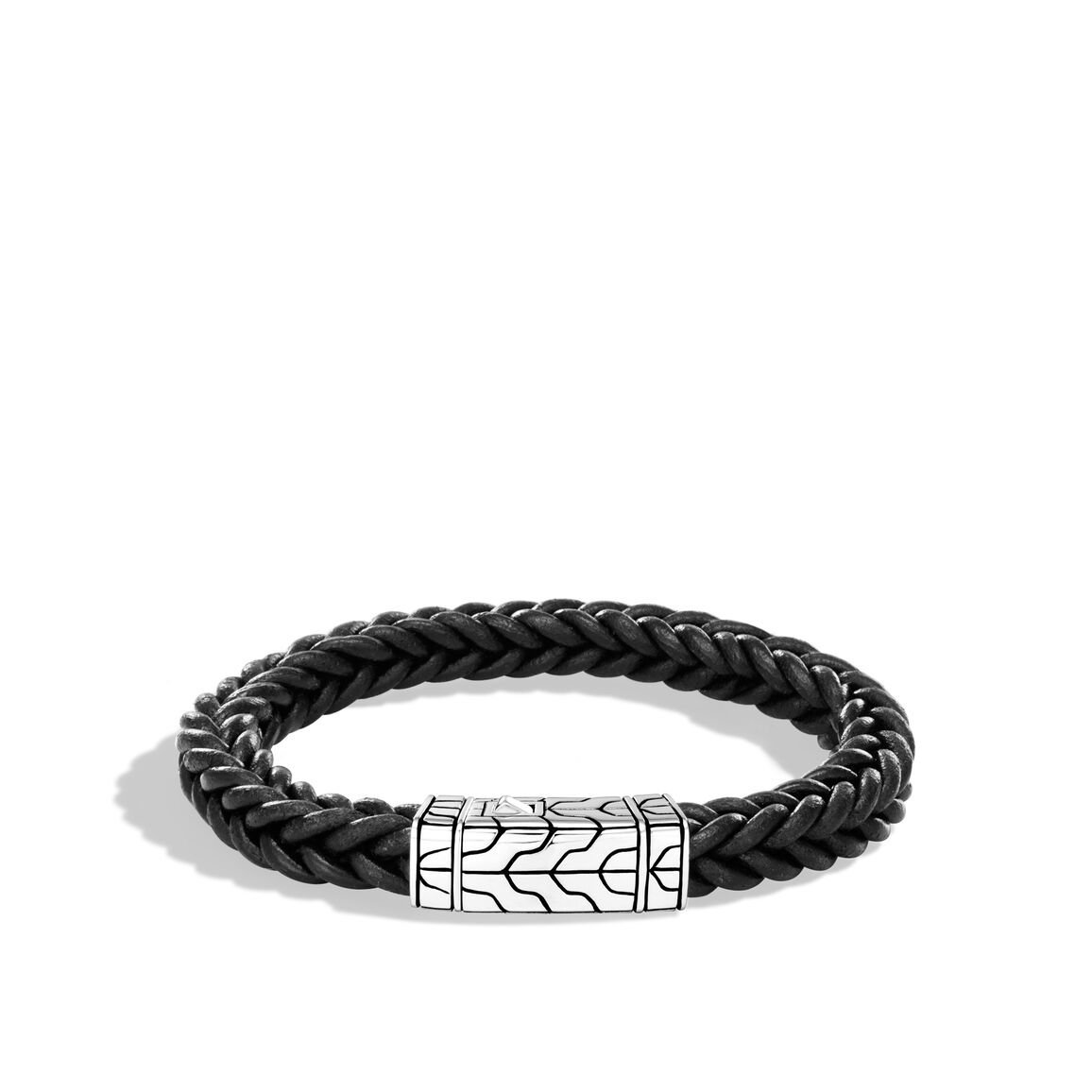 Classic Chain 8.5MM Station Bracelet in Silver and Leather