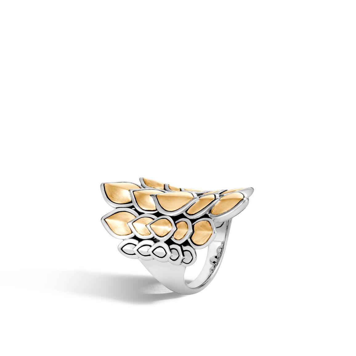 Legends Naga Saddle Ring in Silver and Brushed 18K Gold