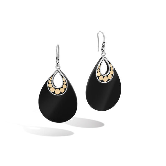 Dot Drop Earring in Silver and 18K Gold with Gemstone, Black Onyx, large