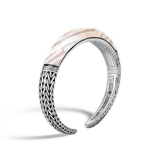 Classic Chain 11mm Kick Cuff in Silver with Gemstone, White Agate, large