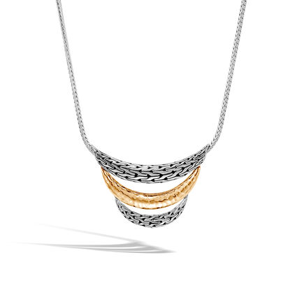 Classic Chain Bib Necklace in Silver and Hammered 18K Gold
