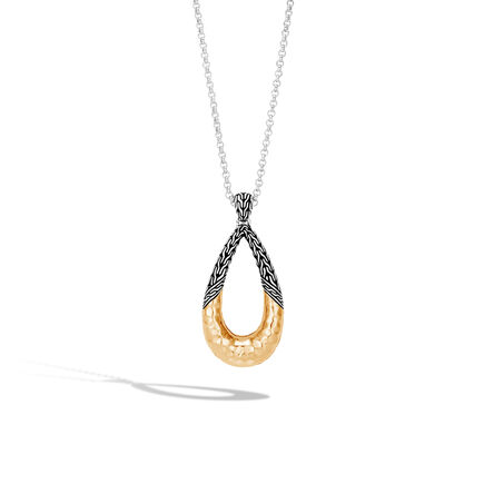 Classic Chain Pendant Necklace, Silver and Hammered 18K Gold