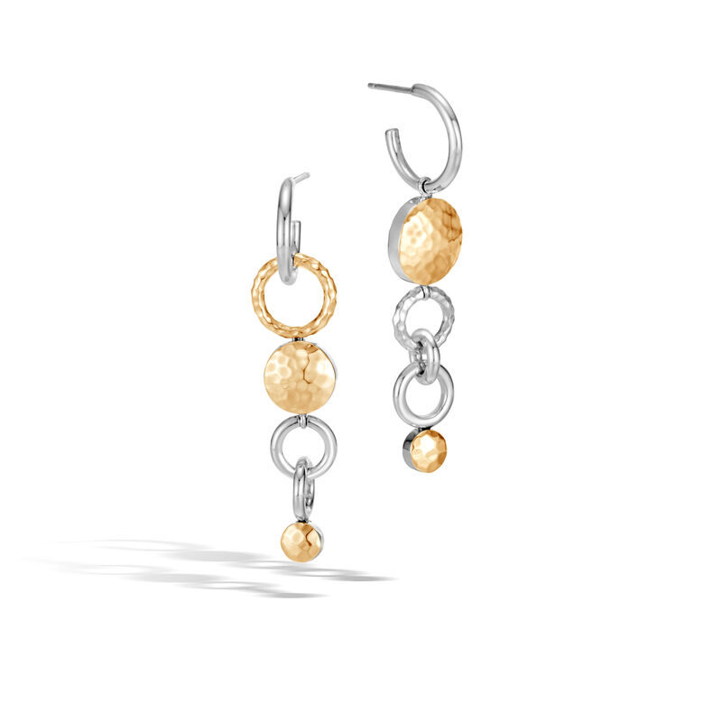 21dc916e3 Dot Mismatched Drop Earrings in Silver and Hammered 18K Gold, , large