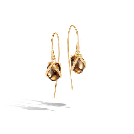 Classic Chain Drop Earring In 18K Gold with 10MM Gemstone