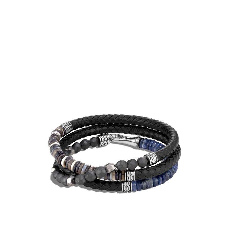 Classic Chain Wrap Bracelet in Silver, Leather, Silver Calcite, large