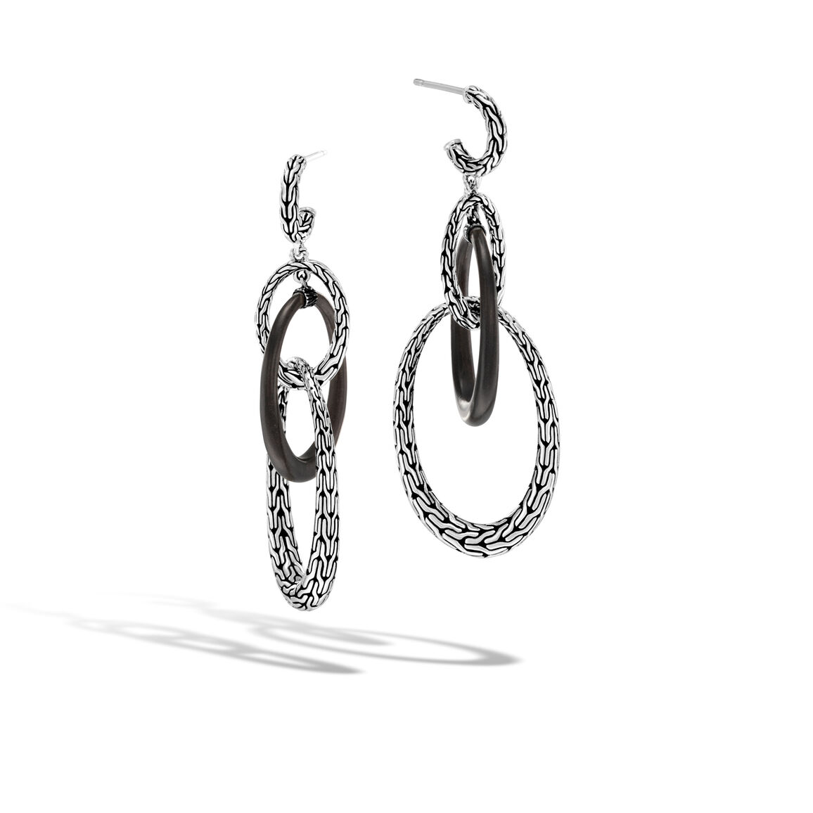 Classic Chain Drop Earring in Silver and Wood