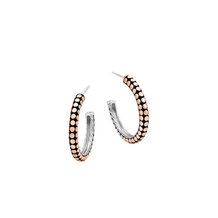 Dot Small Hoop Earring in Silver and 18K Rose Gold