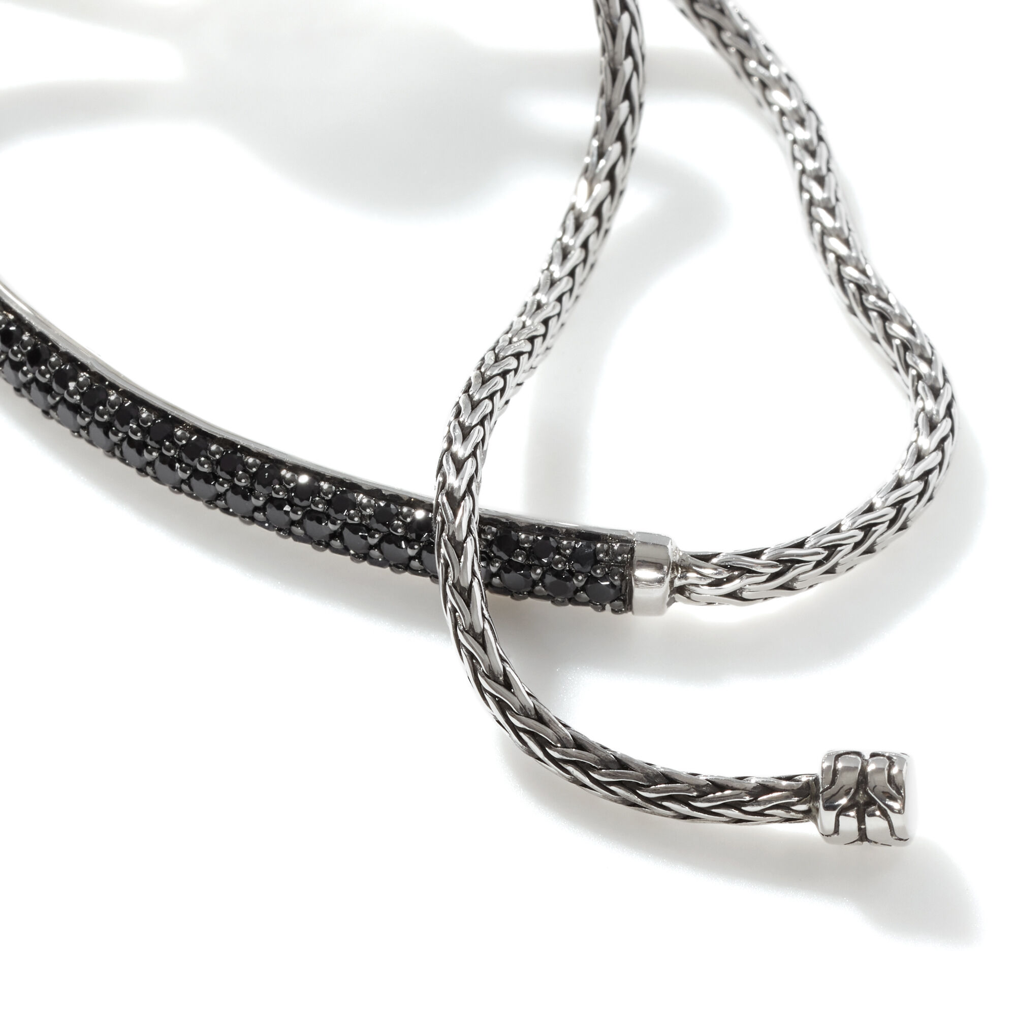 Classic Chain Pull Through Station Bracelet, Treated Black Sapphire, large