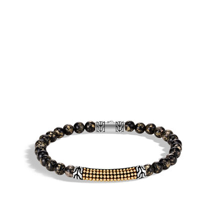 Chain Jawan Bead Bracelet, Silver and 18K Gold, 6MM Gemstone