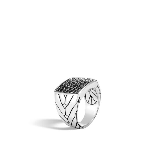Modern Chain Signet Ring in Silver with Gemstone, Black Sapphire, large