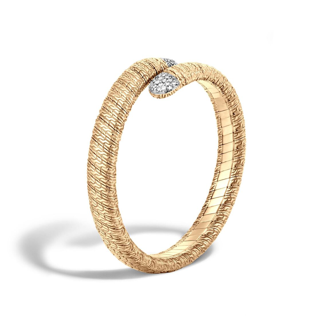 Classic Chain Single Coil Bracelet in 18K Gold with Diamonds