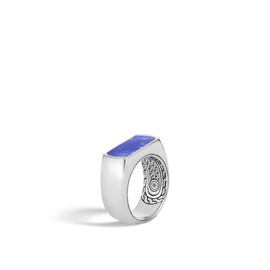 Classic Chain 9.5MM Band Ring in Silver with Gemstone, Lapis Lazuli, large