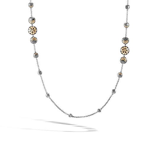 Dot Moon Phase Station Necklace, Black Hammered Silver, 18K, , large