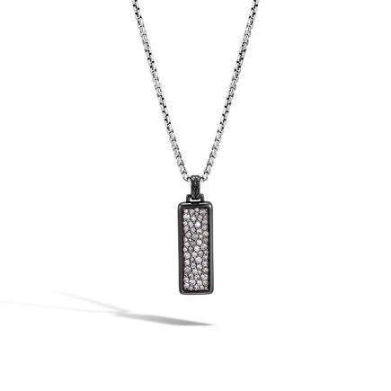 Classic Chain Dog Tag Pendant in Blackened Silver, Diamonds