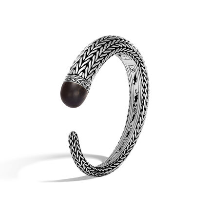 Classic Chain 13.5MM Kick Cuff in Silver and Wood