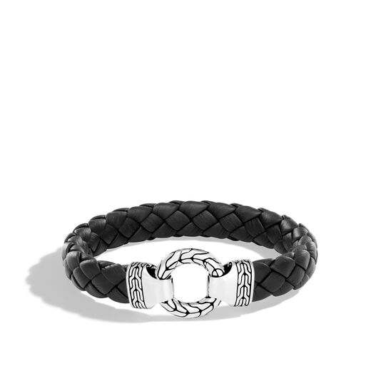 Classic Chain 12MM Ring Clasp Bracelet in Silver and Leather, , large
