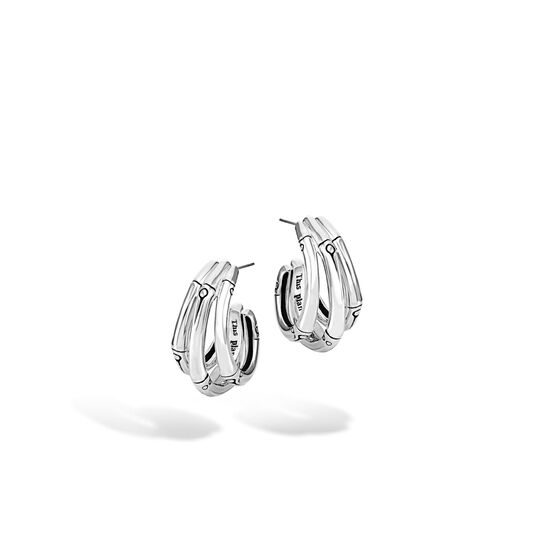 Bamboo Small J Hoop Earring in Silver, , large