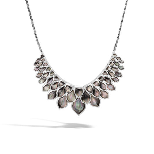 Legends Naga Necklace in Silver with Gemstone, Grey Mother of Pearl, large