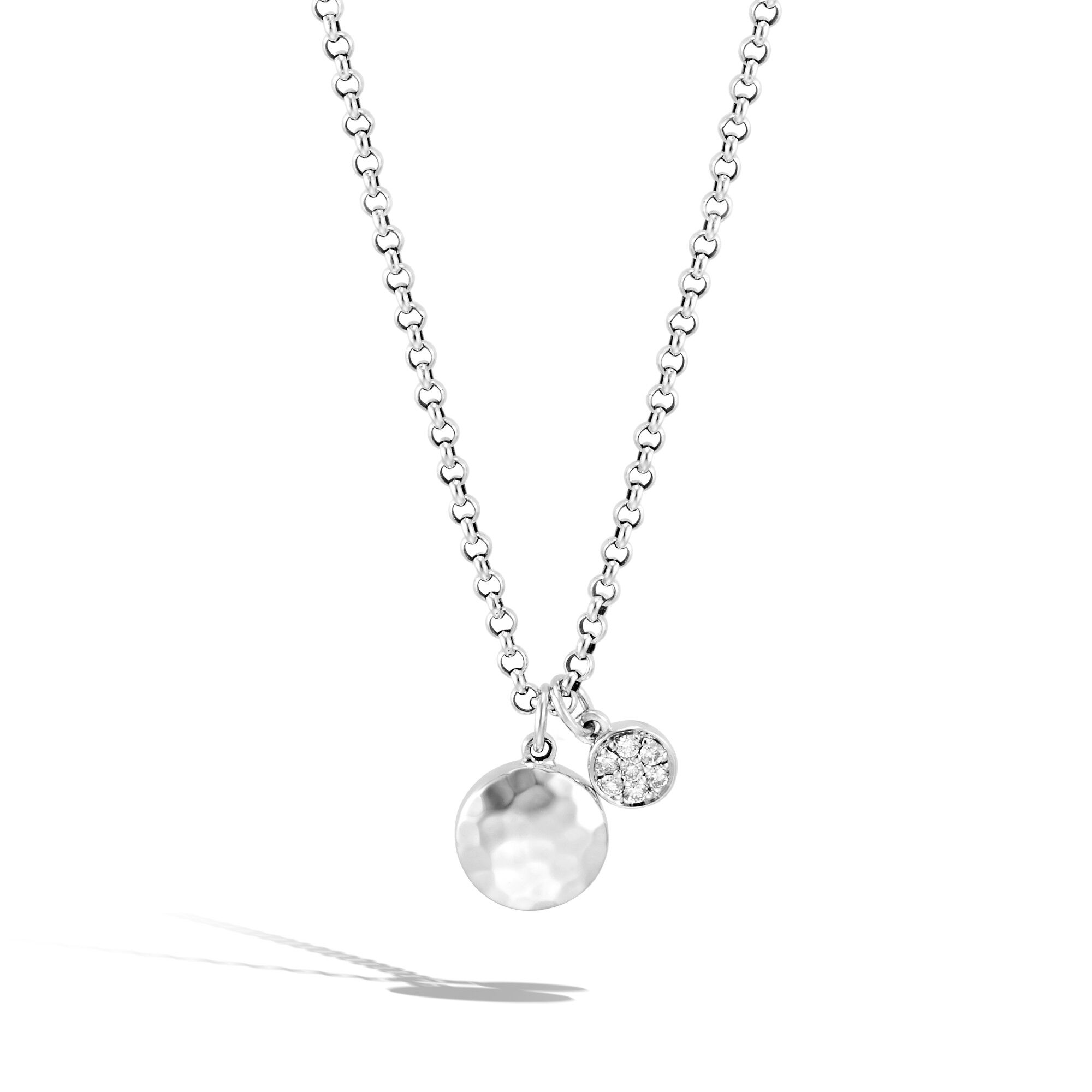 Dot Pendant Necklace in Hammered Silver with Diamonds, , large