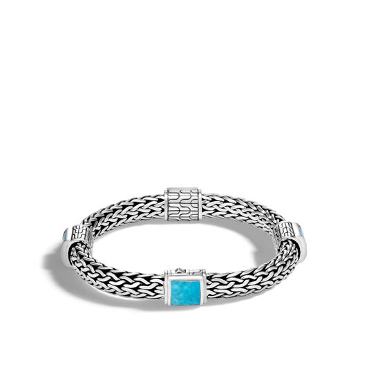 Classic Chain 7.5MM Bracelet in Silver with Gemstone, Natural Arizona Turquoise, large