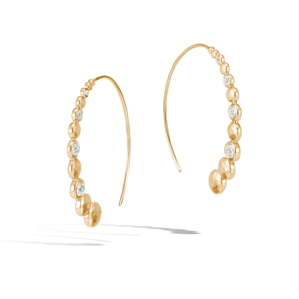 Dot Medium Hoop Earring in Hammered 18K Gold with Diamonds