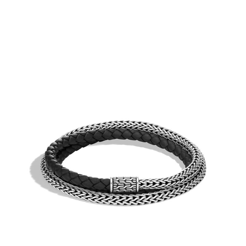Classic Chain 5MM Triple Wrap Bracelet in Silver with Leather, , large