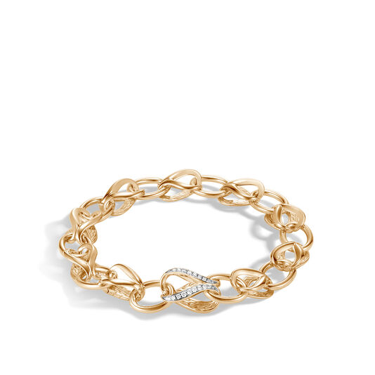 Asli Classic Chain Link 10MM Bracelet, 18K Gold, Diamonds, White Diamond, large