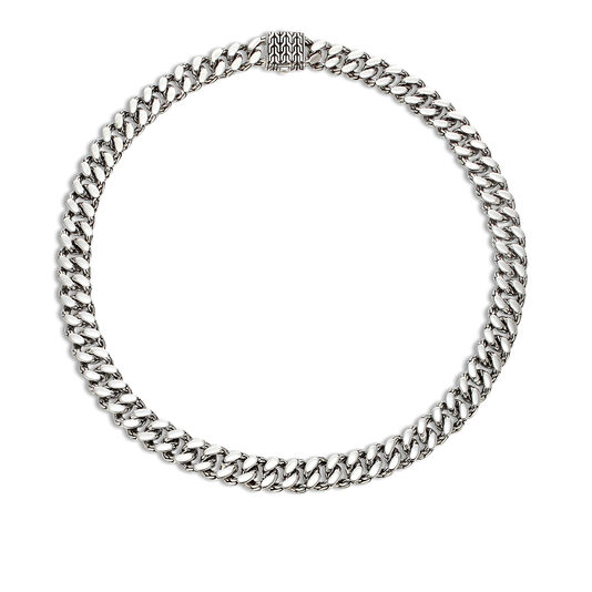 Classic Chain 11MM Curb Link Necklace in Silver, , large