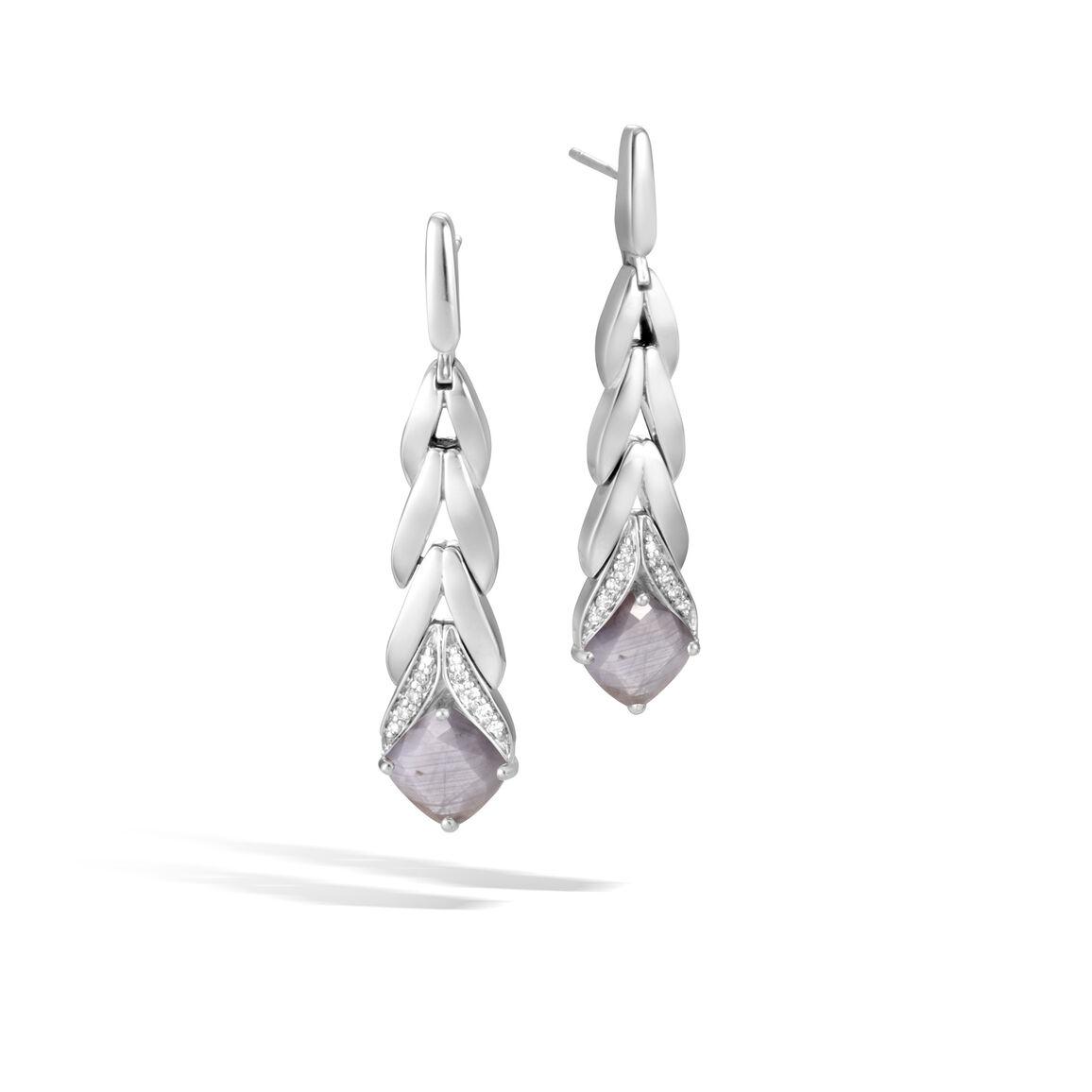 Modern Chain Magic Cut Drop Earring, Silver, Gemstone, Dia