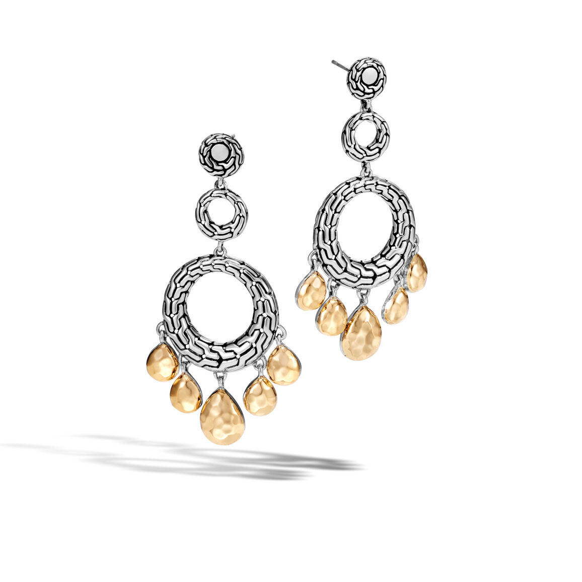 Classic Chain Chandelier Earring, Silver, Hammered 18K Gold