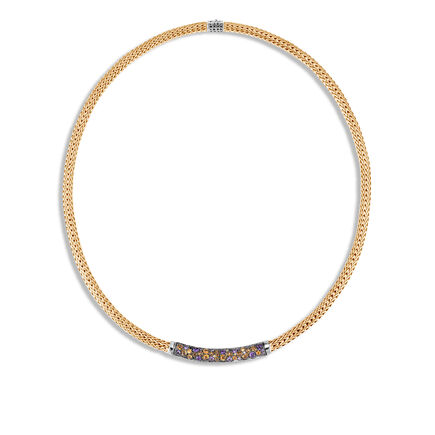 Classic Chain 5MM Station Necklace in Silver, 18K Gold, Gem
