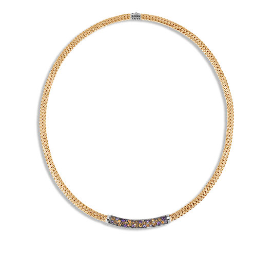 Classic Chain 5MM Station Necklace in Silver, 18K Gold, Gem, Amethyst, large