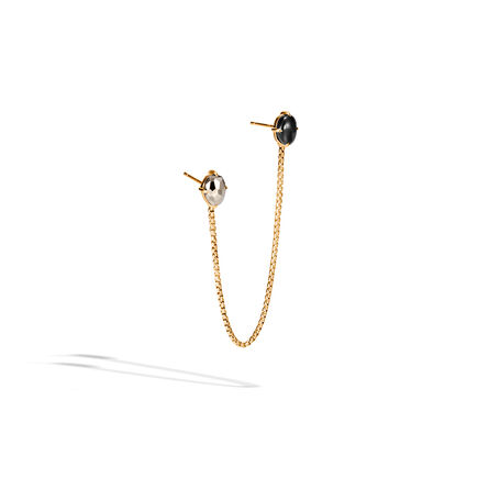 Classic Chain Single Earring in 18K Gold with Gemstone