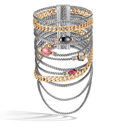 AAxJH Classic Chain Multi Row Bracelet in Silver, 18K Gold with Gem