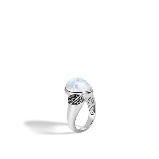 Classic Chain Bypass Ring in Silver with Gemstone, Rainbow Moonstone, large